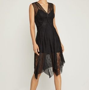 NWT BCBG ASYMMETRICAL LACE TRIMMED DRESS XS